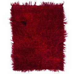 Shag-Pile Plain Red Mohair Tulu Rug