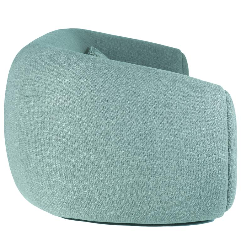Curved Minimalist teal green Lounge from France 2