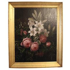 Oil Painting of Peonies and Lilies with a Gilded Frame, I.L.Jensen School, 1880