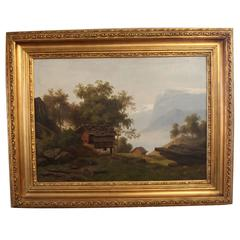 Oil Painting of Beautiful Swiss Landscape with Gilded Frame, 1880s