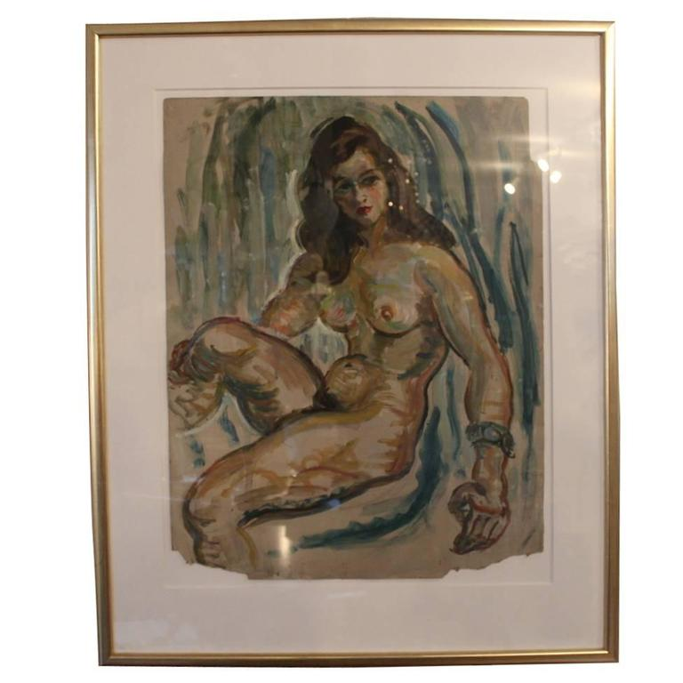 French Oil Painting of a Naked Woman with Dark Blue Background, 1920s
