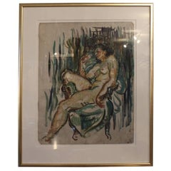French Oil Painting of a Naked Woman with a Dark Blue Background, 1920s