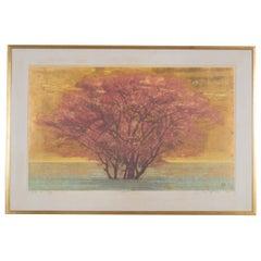 "Joichi Hoshi ""Veldt (B)"" Monumental Framed Woodblock Print"