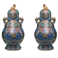 Large Pair Of Cloisonne Vases With Covers