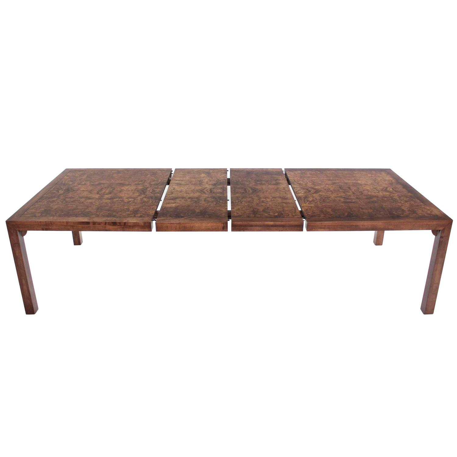 Burl Walnut Mid Century Modern Dining Table With Two Leaves At 1stdibs