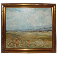 California Signed and Dated Impressionistic Painting with Original Frame