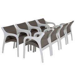 Set of Eight Armchairs with Rounded Arms and Ribbed Leather Seats from Brazil