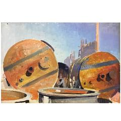 1936 Soviet Social Realist Factory Scene