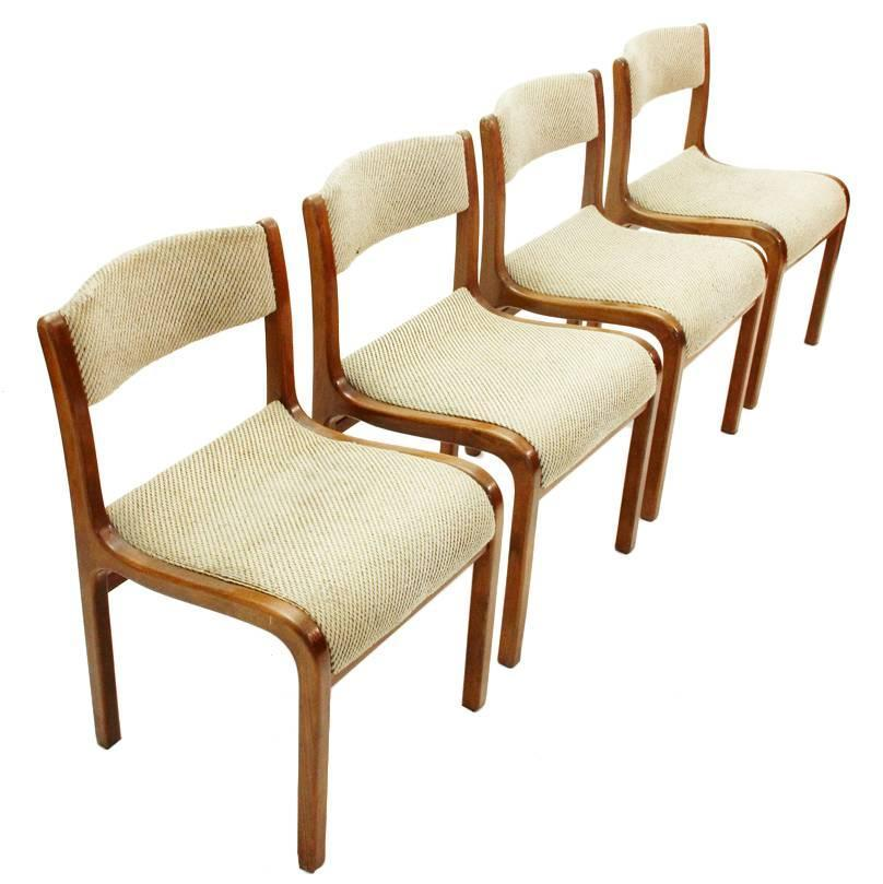 Italian Mid Century Wooden Chairs Set Of Four For Sale At 1stdibs