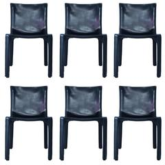 "Mario Bellini, Manufacture Cassina 'Label,' Set of Six Chairs, ""Cab"" Model"