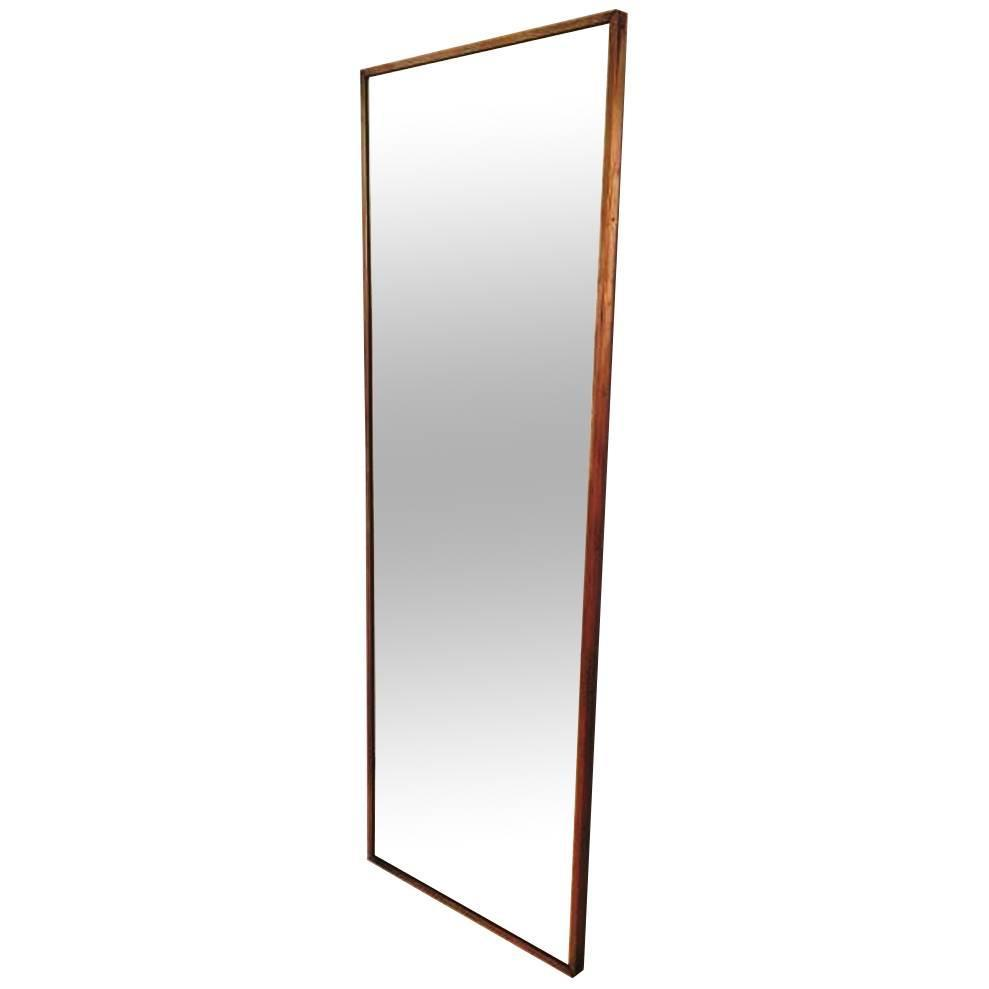 1950s long and narrow brass mirror at 1stdibs for Narrow mirror