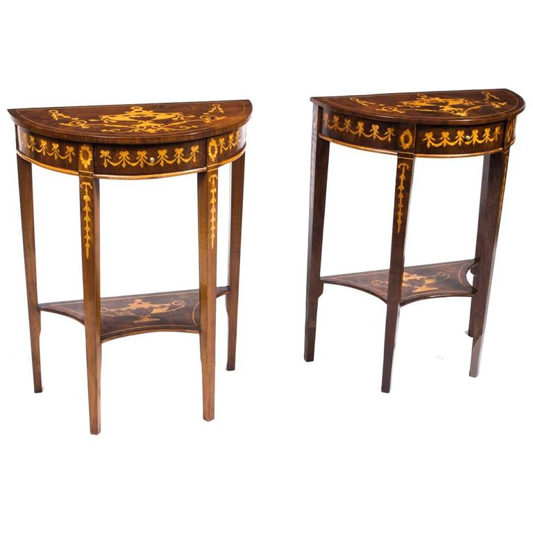Vintage Pair Of Burr Walnut Half Moon Marquetry Console Tables, 20th Century