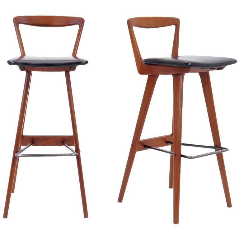 Pair Of Teak Bar Stools By Henry Rosengren Hansen