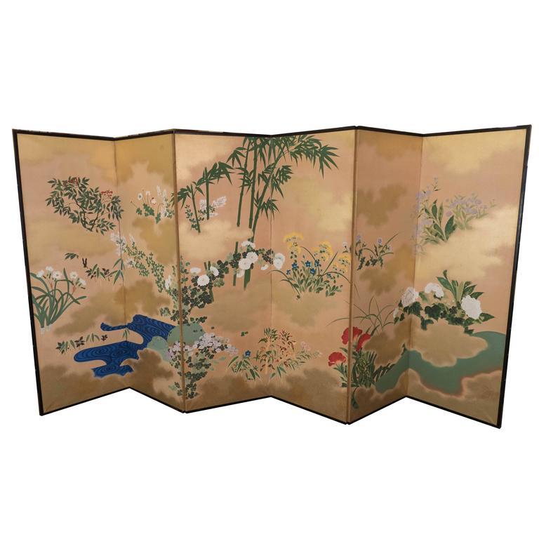 Japanese Late Meiji-Early Showa Period Six-Panel Screen