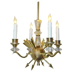 French Brass and Crystal Directoire Style Chandelier with Arrows