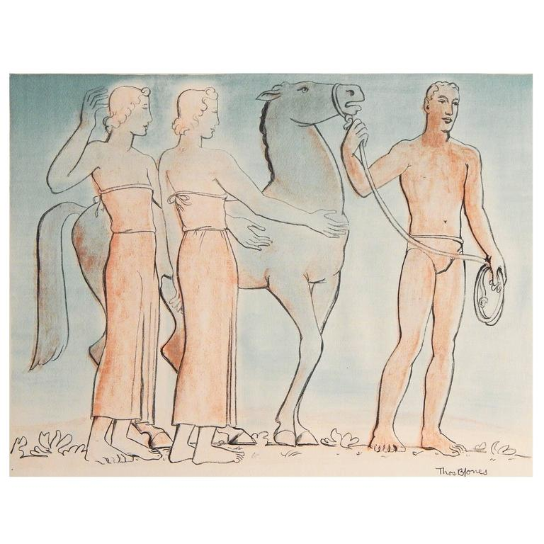 """""""Modern Greek Frieze with Horse,"""" Extremely Rare WPA-Period Watercolor, 1930s"""