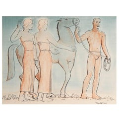 """Modern Greek Frieze with Horse,"" Extremely Rare WPA-Period Watercolor, 1930s"