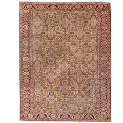 Antique Persian Bakhshaish Carpet with All Over Herati Design in Gold and Blue
