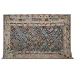 Afghan Rugs, Kilim Rugs with salmon and blue rug