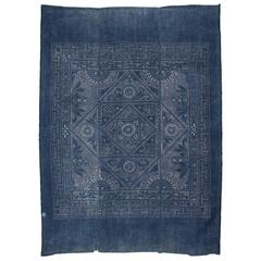 Mid-20th Century Miao Tribe Indigo Cotton Blanket Top