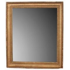 Gilt Napoleon III Mirror with Small Flame Stitch Pattern Trim Frame