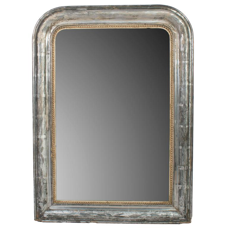 Small silver frame mirror with gold bead trim for sale at for Small gold framed mirrors