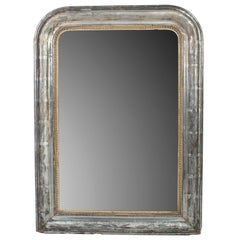 Small Silver Frame Mirror with Gold Bead Trim