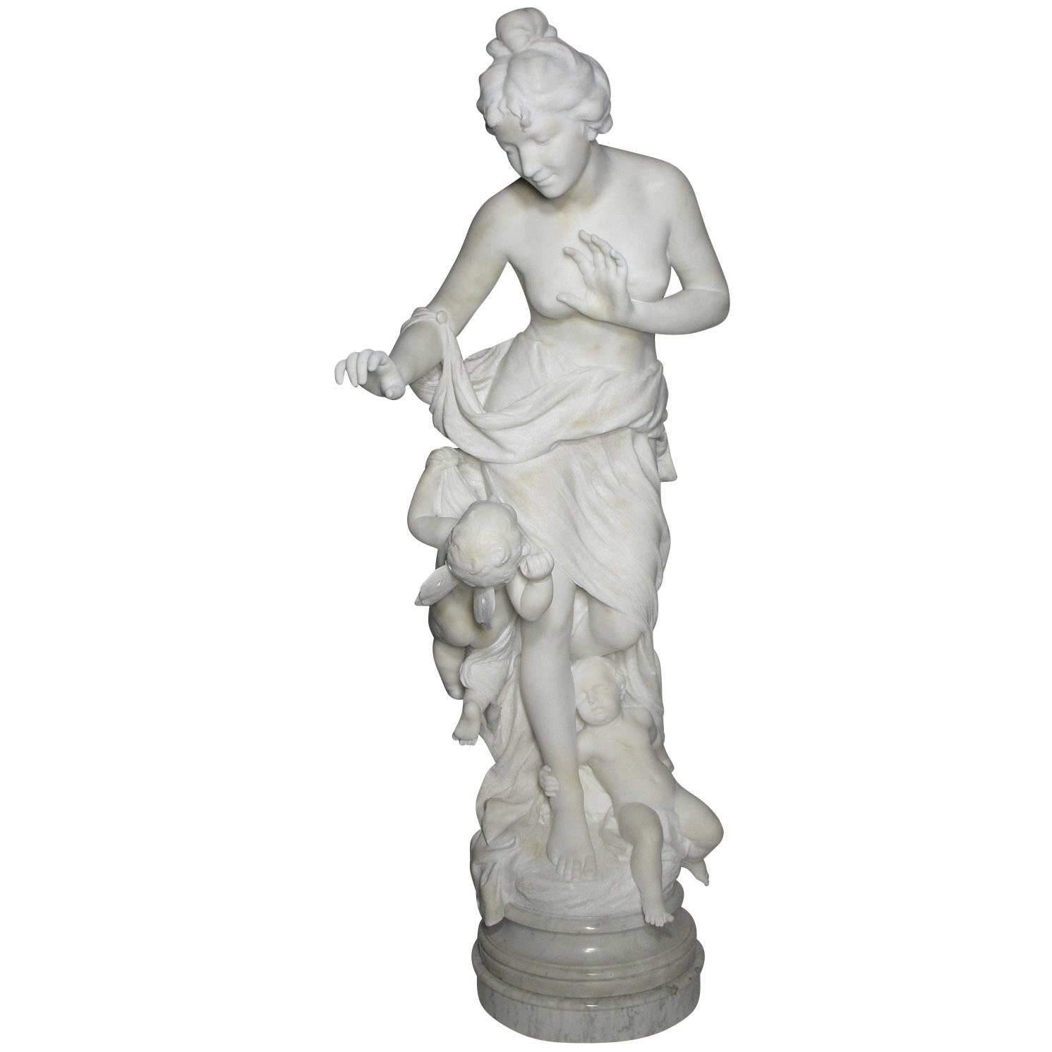 """Italian 19th Century Lifesize Marble Sculpture Titled """"Searching for Love"""""""