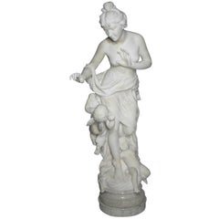 "Italian 19th Century Lifesize Marble Sculpture Titled ""Searching for Love"""