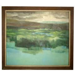 """Mid-Century Oil Painting Signed """"La Badessa"""""""