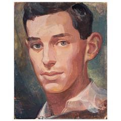 """""""Dark Haired Man,"""" Superb Portrait by WPA Artist on Renaissance Panel"""