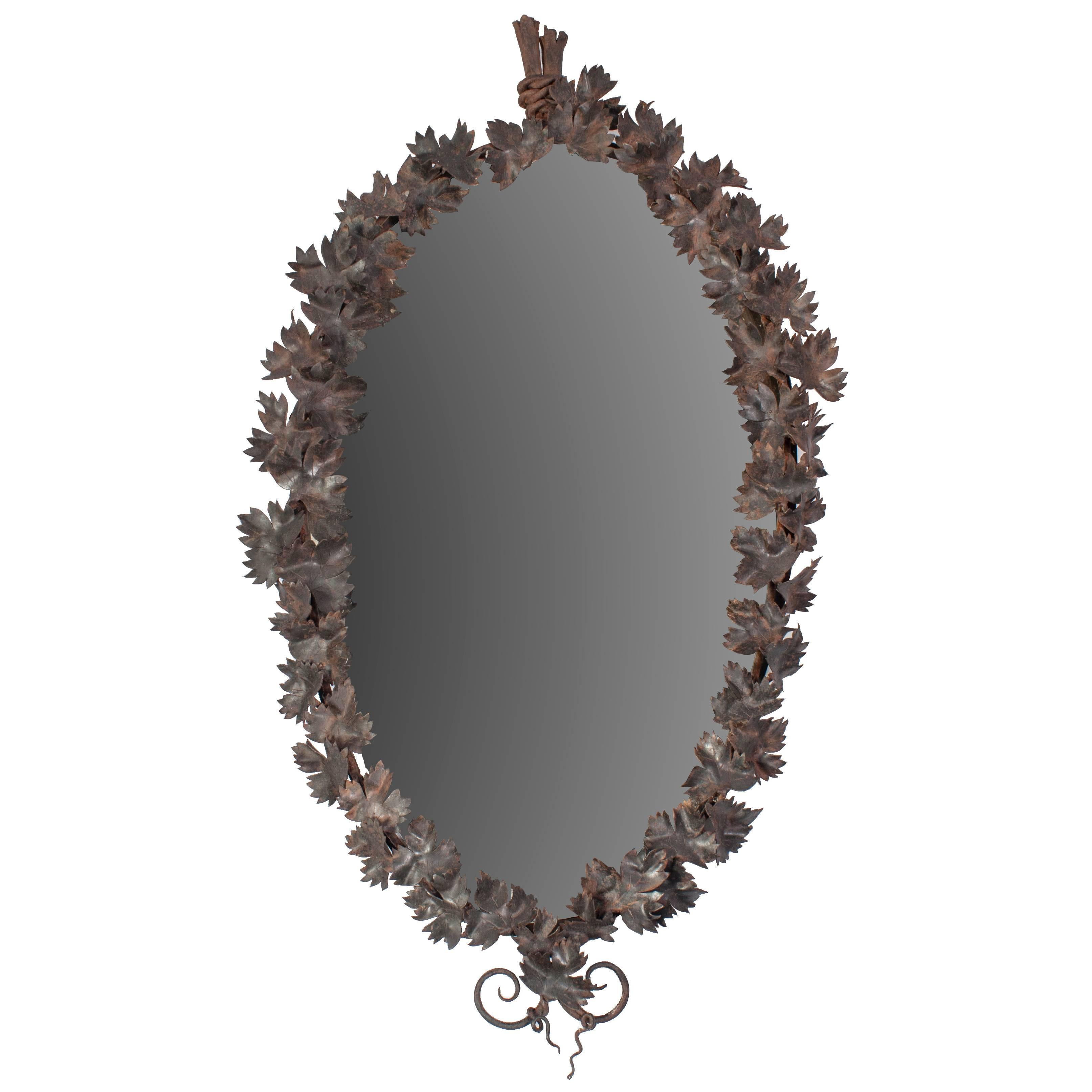 Wrought Iron Mirror with Leaf Motif