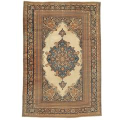 Late 19th Century Tan Tabriz Carpet with Rosettes and Paisleys