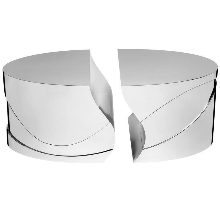Magnificent Tables in Nickel-Plated Brass by Puiforcat & Paloma and Juan Garrido