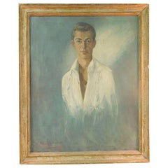 Large Vintage Original Painting of Handsome Male Portrait by Listed Artist