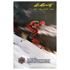 "Original Vintage Skiing Poster, World Ski Championships ""St Moritz Switzerland"""