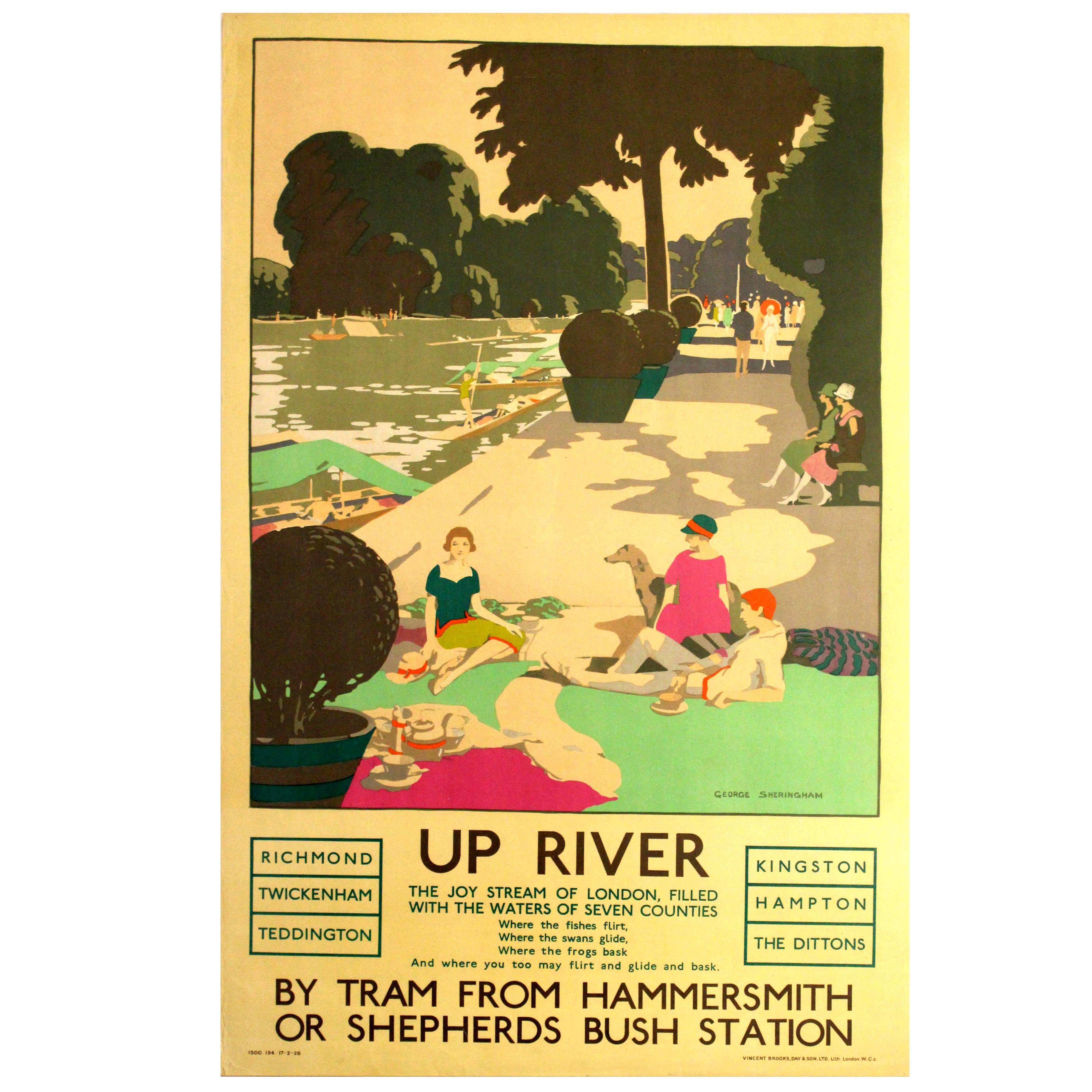 Original Vintage 1926 London Transport Poster Up River Thames Twickenham Hampton