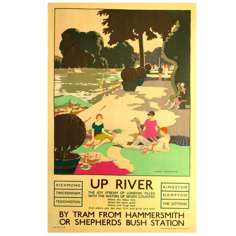 Original Vintage 1926 London Transport Poster Up River Thames Twickenham Hampton For Sale