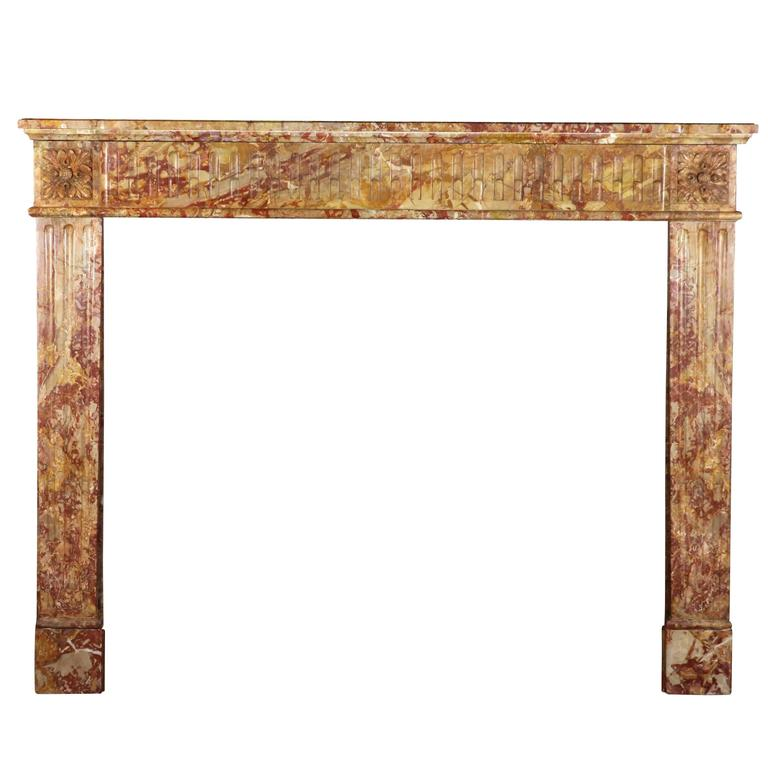 19th Century Marble Antique Fireplace Mantel in the Style of Louis XVI
