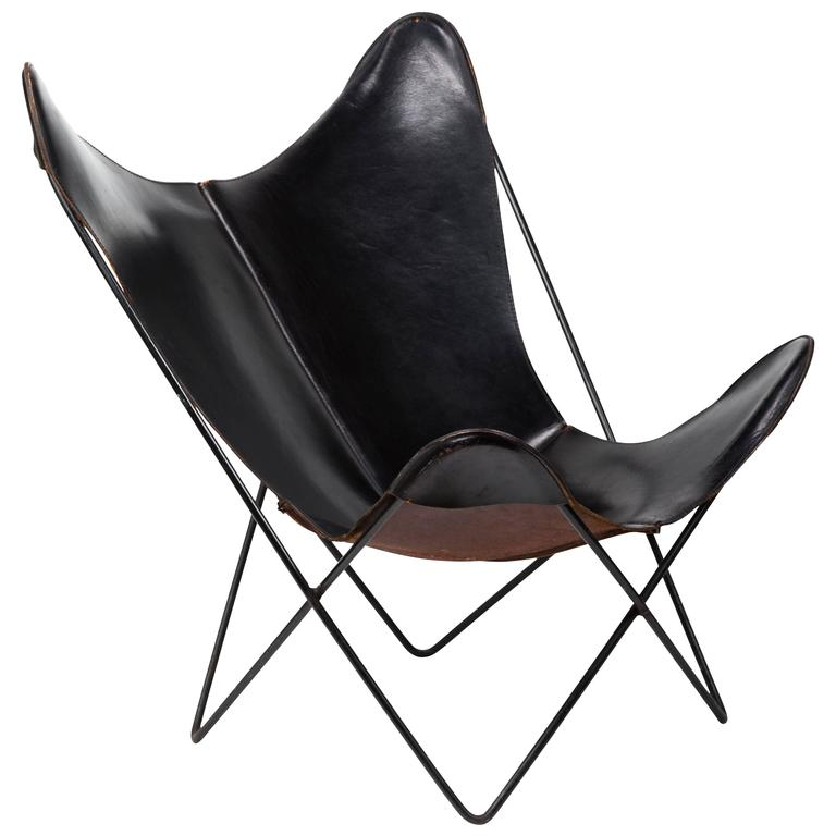 Beautiful Leather Butterfly Chair By Jorge Ferrari Hardoy For Knoll For Sale