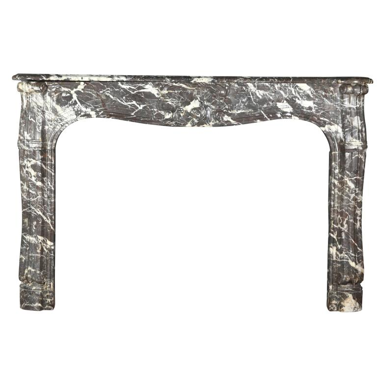 18th Century Antique Fireplace Mantel in Belgian Grey Marble