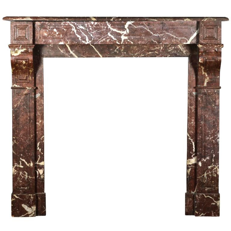 Brown Fireplace Mantel : Th century belgian brown rochefort marble antique