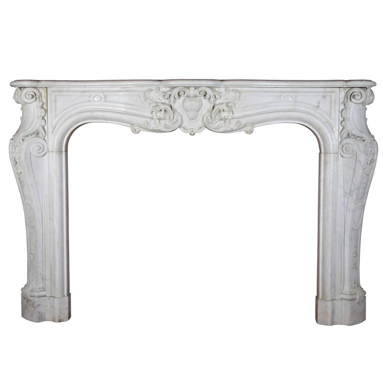18th Century Antique Fireplace Mantel in White Statuary Marble