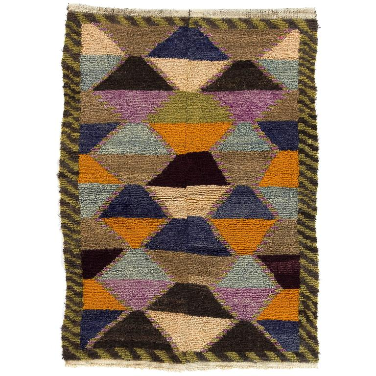 Colorful mid century modern tulu rug for sale at 1stdibs for Colorful rugs for sale