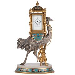Gilt and Silvered Bronze and Cloisonné Figural Clock