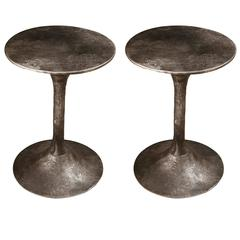 Pair of Cast Aluminium Industrial Side Tables from France