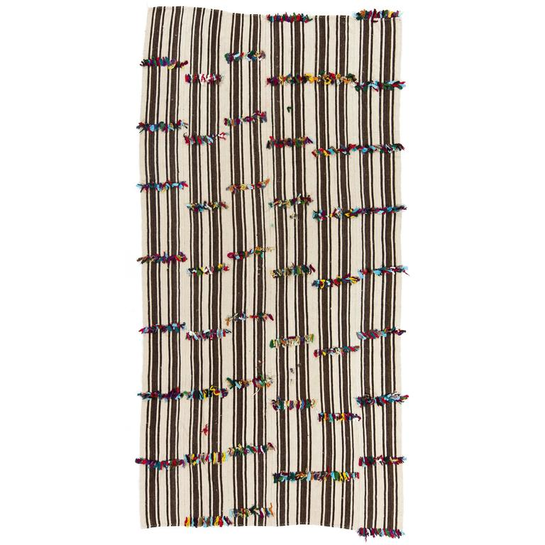 Natural Brown And Beige Kilim With Colorful Poms For Sale