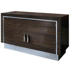 Art Deco Inspired Cabinet in Macassar Ebony and silver leaf details