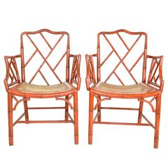 Pair of English Faux Bamboo Red Chippendale Style Arm Chairs