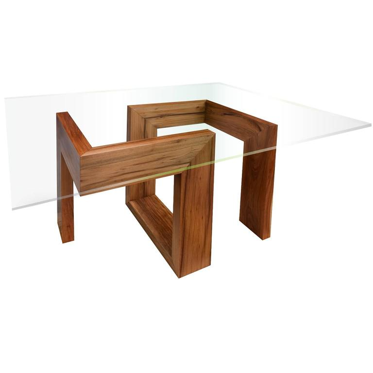 Modern 21st Century Solid Timber Table With Glass Top For